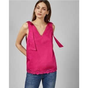 NWT Ted Baker Daynaa Embroidered Bow Shoulder Top